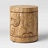 Faux-Wood Elephant Patio Accent Table