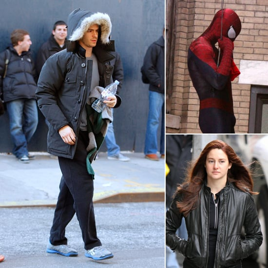 Andrew Garfield and Shailene Woodley on Spider-Man 2 Set