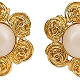 One Kings Lane Vintage Chanel Flower Pearl Clip Earrings