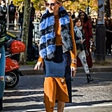 Wear a Big Furry Striped Scarf — Even in Early Autumn