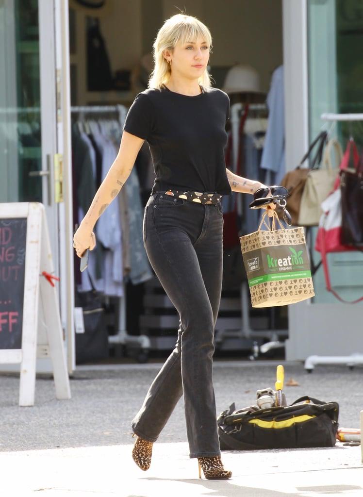 Miley Cyrus Wearing All Black in Los Feliz, California
