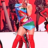 Katy strutted her stuff in some red boots at the NCAA March Madness Music Series.