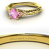 Sierra from Heck Yeah Disney Merch used Gemvara to create these Disney-princess-inspired rings — and they are spot-on, right down to the personalized engraving. You can buy Aurora's ring here!