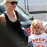 Gwen Stefani wore her hair pulled back.