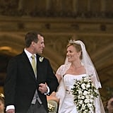 Peter Phillips and Autumn Kelly The Bride: Autumn Kelly, a Canadian and former management consultant. She converted from Roman Catholicism to the Church of England so that Peter wouldn't lose his place in the line of succession. The Groom: Peter Phillips, the son of Princess Anne and her first husband, Captain Mark Phillips, and sister of Zara Phillips. Although he holds no title, he is a grandchild of Queen Elizabeth II and 11th in line to the British throne. When: They wed on May 17, 2008. Where: The marriage took place at St. George's Chapel in Windsor Castle.