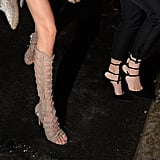 The two also wore shoes they designed: Kendall in a pair of heeled gladiator sandals, and Kylie in a pair of strappy pumps.