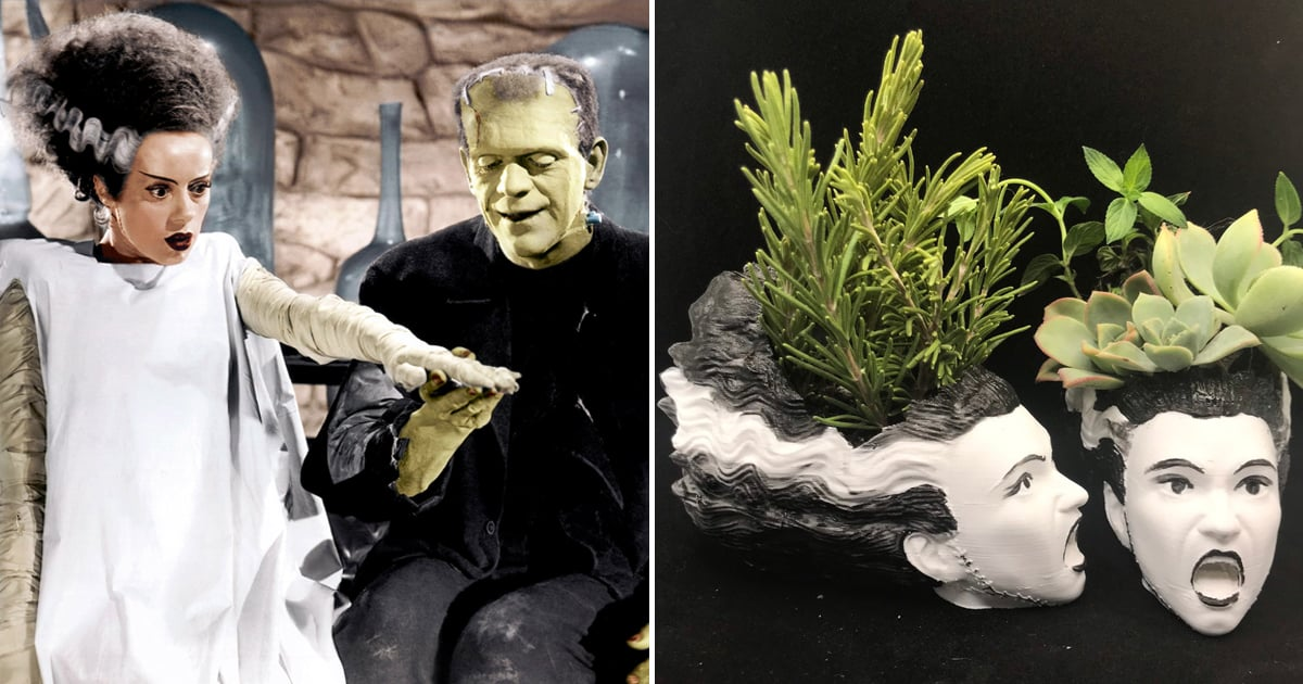 Etsy's Frankenstein and His Bride Halloween Succulent Planters Are Frightfully Adorable