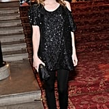 Emma Roberts proves that sequins can be fresh by pairing her dress with purple pumps.