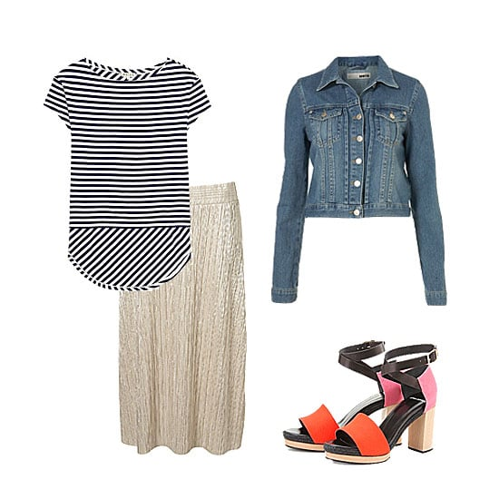 Play with a metallic skirt by adding cool pops of color and print. A staple stripe tee helps to pare down the shimmer, while a pair of colorblocked sandals add interest and play perfectly to the season's trends. Top it all off with a denim jacket for a pulled-together style you could wear easily day to night.
