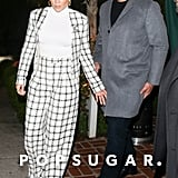 Jennifer Lopez Wearing a White-and-Black Tweed Suit