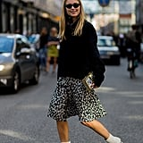 Wear Your Knitted Sweater With a Printed Skirt
