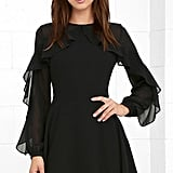 LuLu*s Quiet Grace Black Long Sleeve Dress ($62)