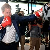 Harry put his boxing skills to the test at London's Queen Elizabeth Olympic Park to launch his Heads Together campaign with Kate and William in May.