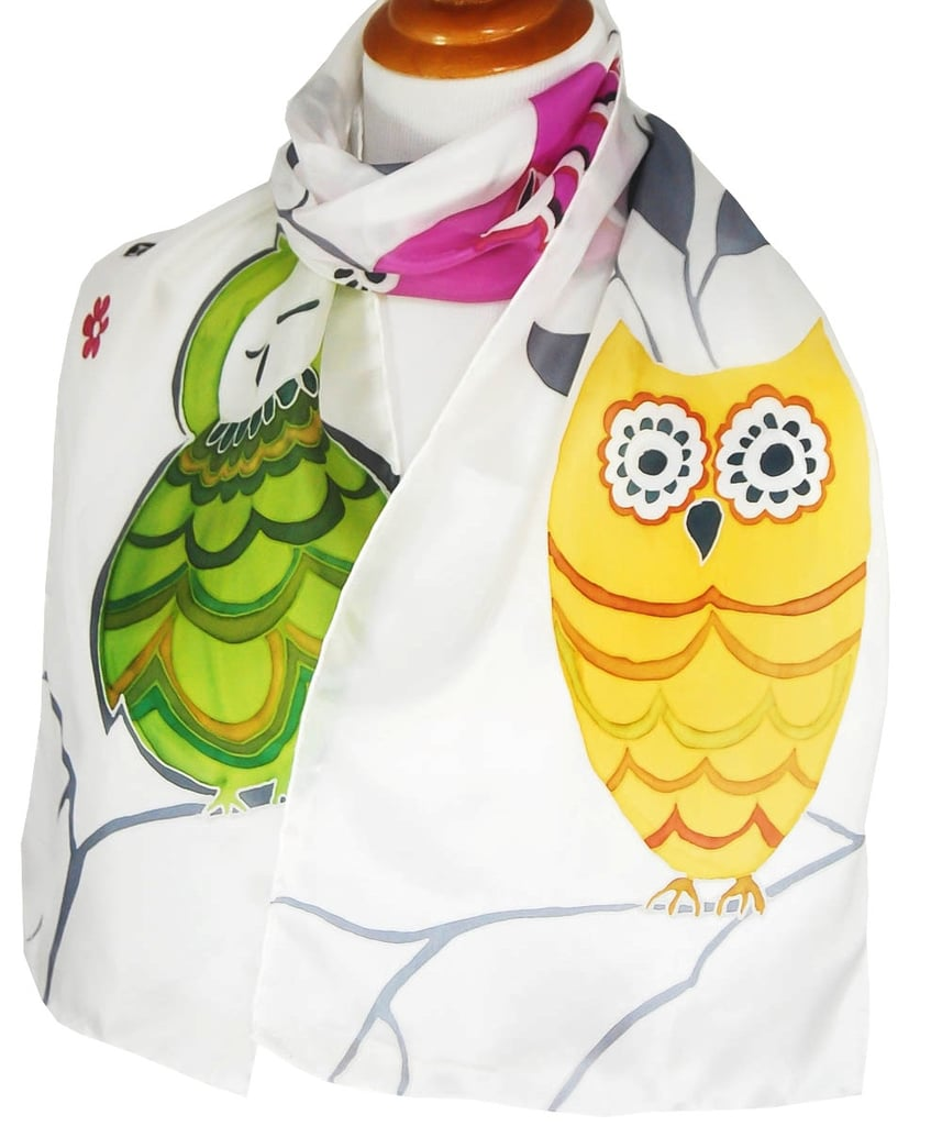 Hand-Painted Owl Scarf