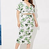 Shein Plus Plant Print V-neck Top With Skirt