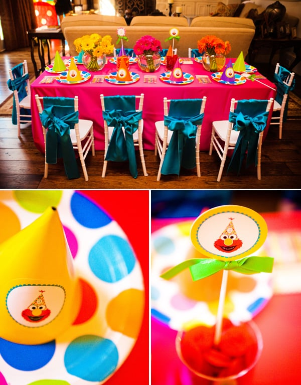 Elmo Party Table Setup ElmoThemed Birthday Party For Girls