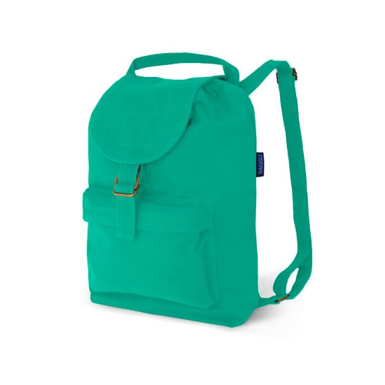 This Baggu sea-green backpack ($34) with an outer zip pocket and interior drawstring will bring a pop of color to your outfit.