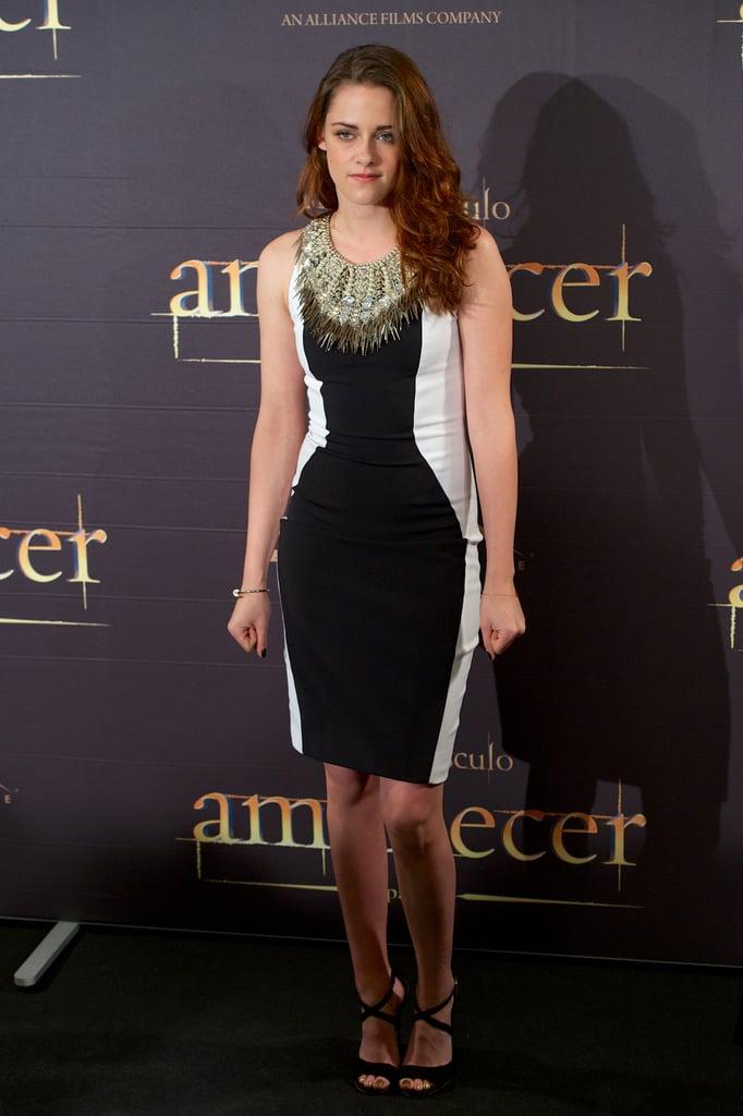 Kristen Stewart wore a black and white dress in Madrid.