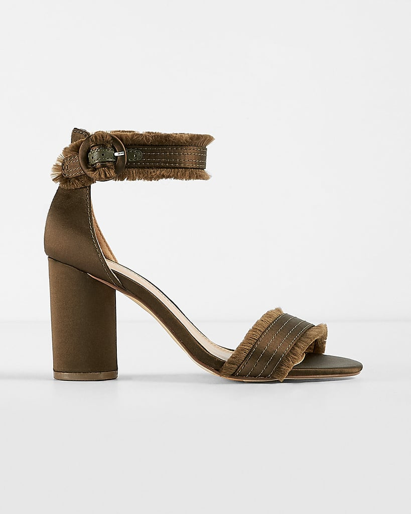 Express Satin Fringe Heeled Sandals