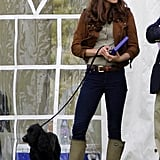 Kate kept the wellies on for a charity polo match in Tetbury.