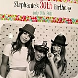 Lea Michele had fun in a photo booth with Lily Aldridge. Source: Instagram user msleamichele