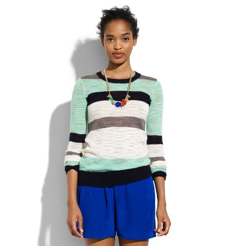 Stripes are always a classic staple, but done up in mint green and black they signal a fresh start for a new season.  Madewell Colorlane Pullover ($85)