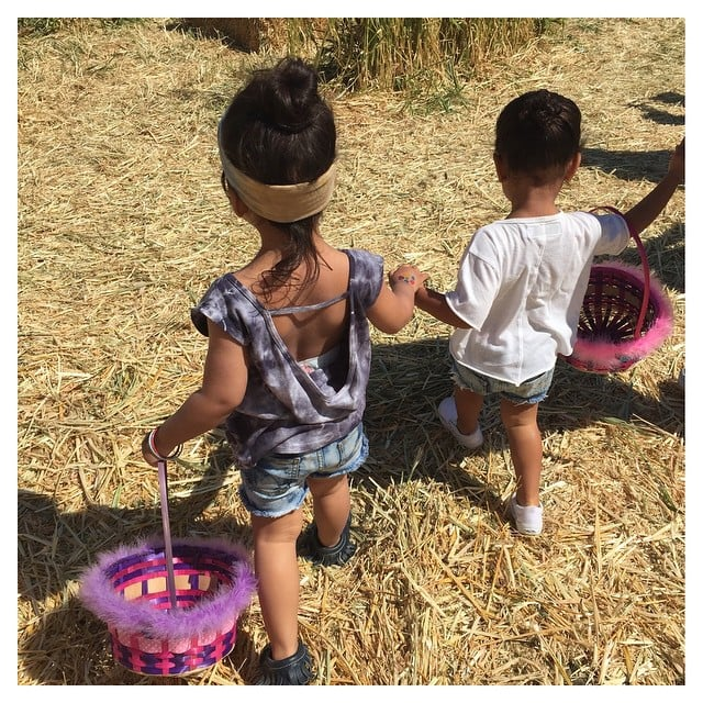 North and her pal Ryan held hands while hunting for eggs in 2015.
