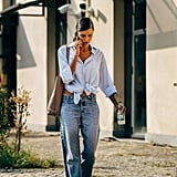 Wear Low-Waist Surfer-Style Jeans With Flip-Flops and a Tie-Front Shirt