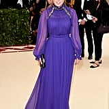 Beatrice was a surprise attendee of this year's Met Gala, sporting a regal purple gown by Alberta Ferretti.
