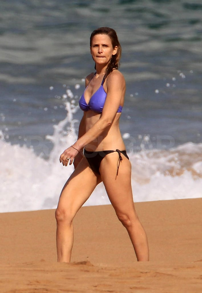 Kyra Sedgwick hit the beach in a mix-and-match bikini.