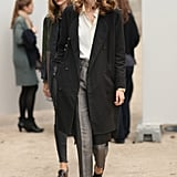 Flat oxfords and a cropped trouser silhouette play to the borrowed-from-the-boys trend.