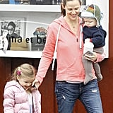 Jennifer Garner held Samuel as and had a cute moment with Seraphina in Brentwood in December 2012.