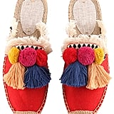U-lite Tassel & Fluffy Ball Canvas Mule Shoes