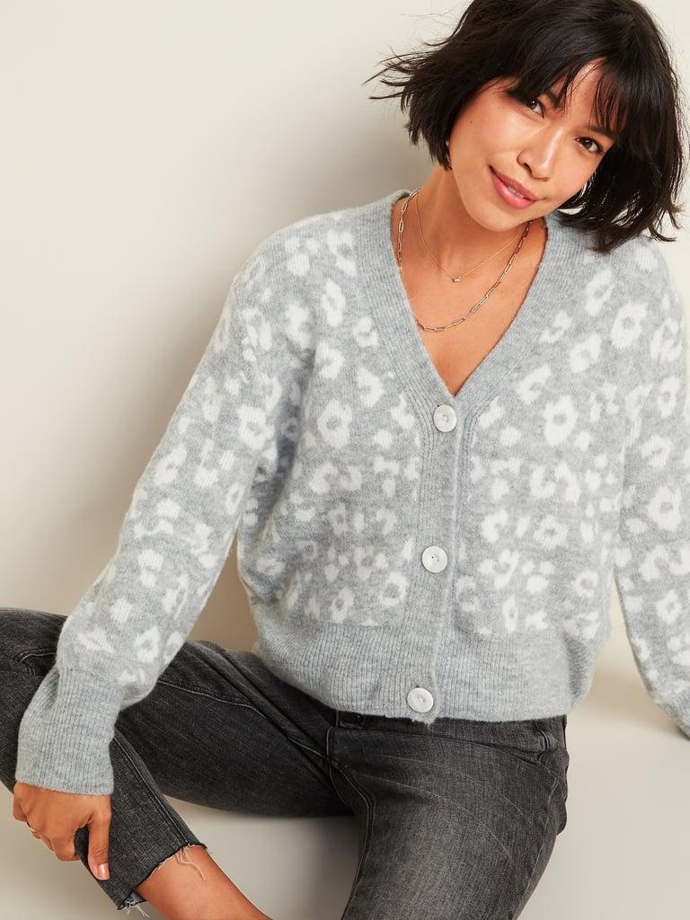 Leopard-Print V-Neck Cardigan Sweater