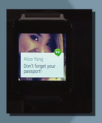 Hangouts notifications in Android Wear.