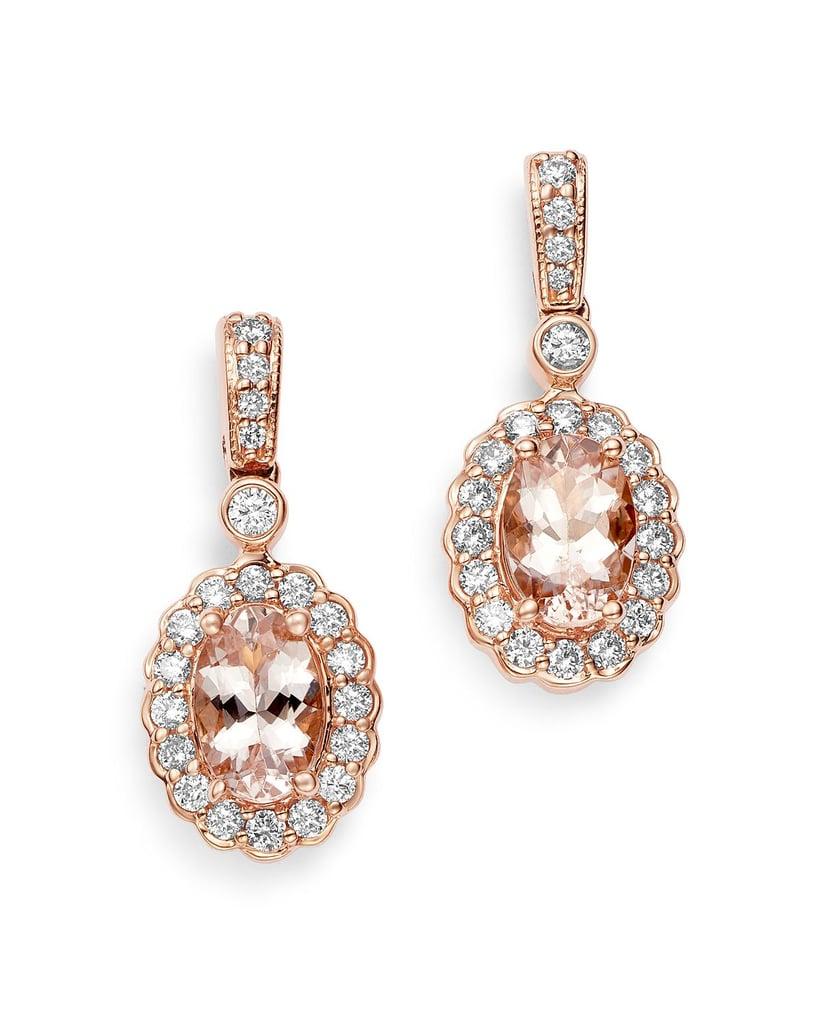 Bloomingdale's Morganite Diamond Halo Drop Earrings