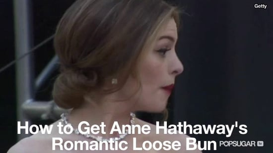 How to get anne hathaways oscars red carpet low bun hairstyle how to get anne hathaways oscars red carpet low bun hairstyle popsugar beauty solutioingenieria Image collections