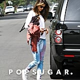 Alessandra Ambrosio wore a pair of patterned pants in LA.