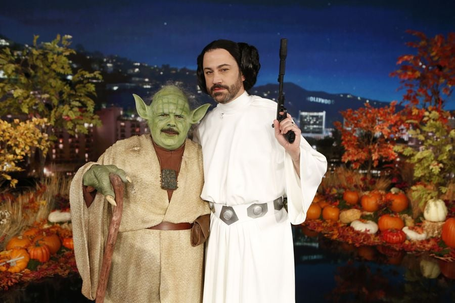 Guillermo Rodriguez And Jimmy Kimmel As Yoda And Princess -2197