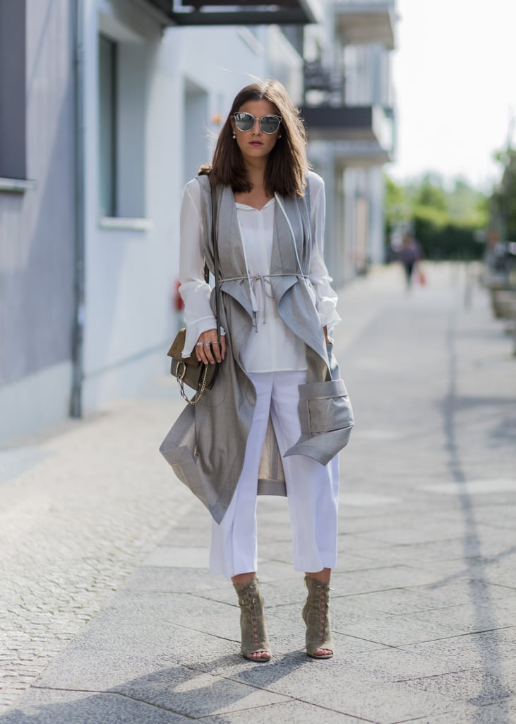 Layered neutrals with high heels
