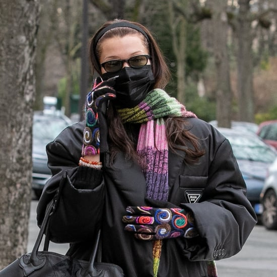 Bella Hadid Wearing Colorful Gloves With Black Prada Coat