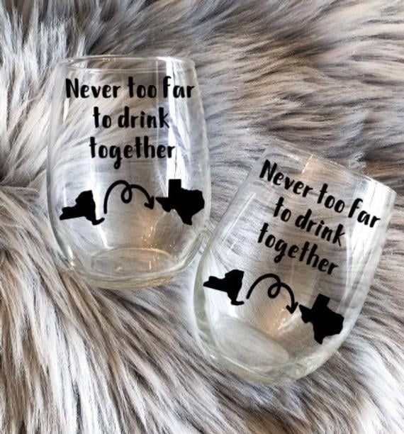 Long Distance Friendship Wine Glasses