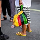 Styling a yellow pair with a zigzag skirt.