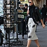 Eye-catching prints transformed this ladylike pencil skirt.