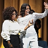 Michelle Obama Sequin Top and Pink Heels With Oprah 2018