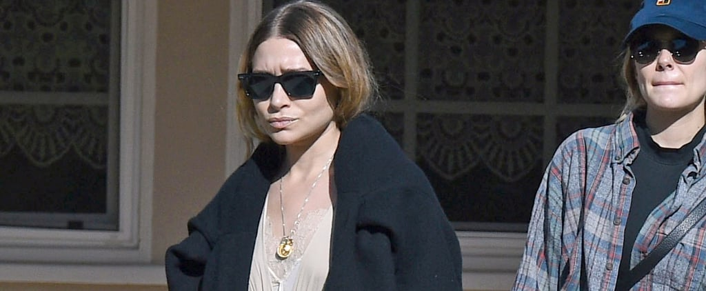 Ashley Olsen Tan Maxi Dress in LA 2018