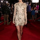 Taylor turned up the heat at the 2012 American Music Awards in an embroidered Zuhair Murad gown. Her sleek updo and metallic earrings kept her beaded and floral mini on full display.