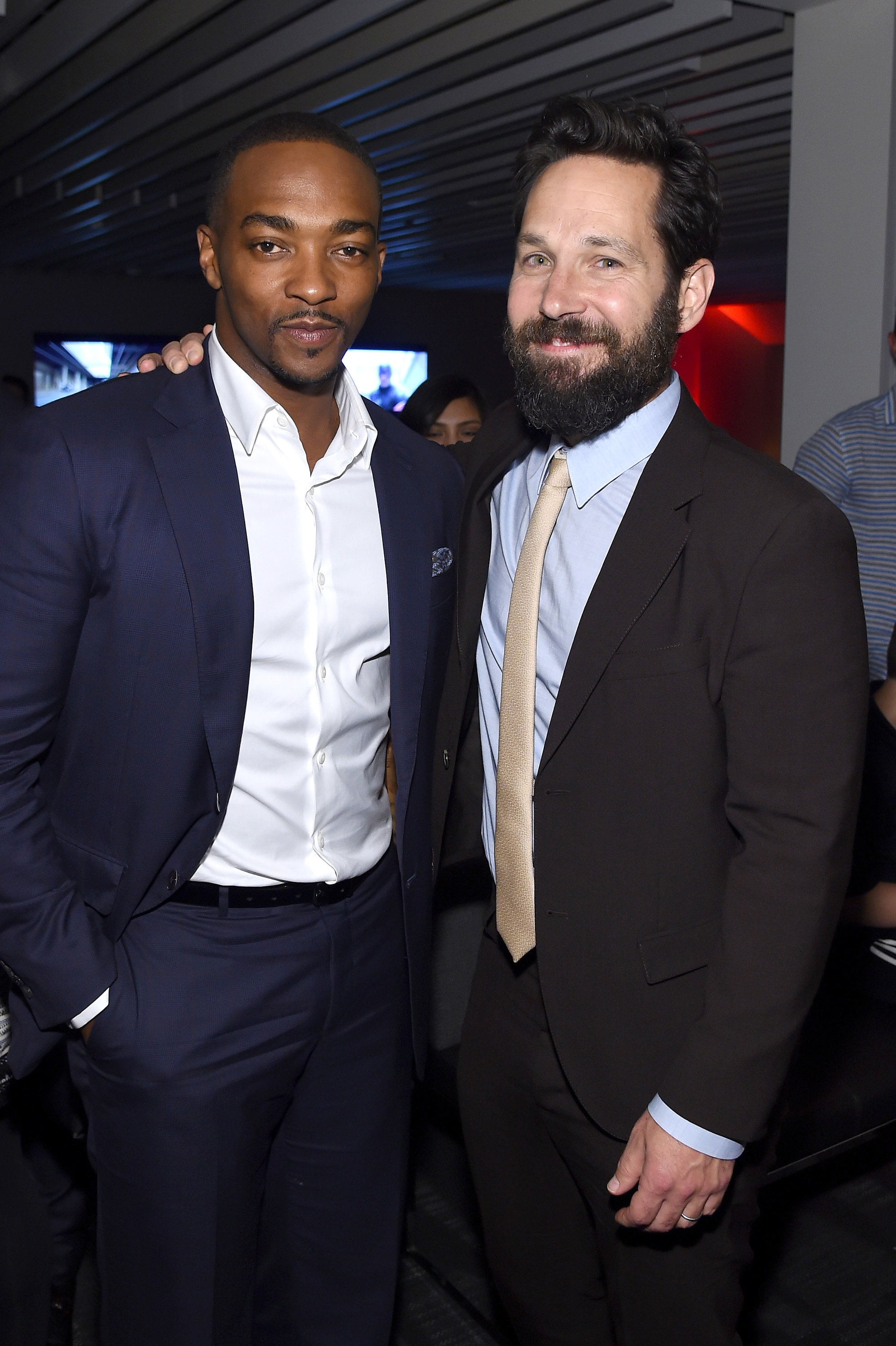 NEW YORK, NY - MAY 04:  Anthony Mackie and Paul Rudd attend the after party for the screening of Marvel's