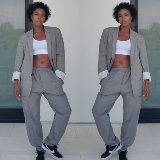 Gabrielle Union Wearing Dwyane Wade's Gray Sweats and Blazer