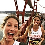Christy Turlington took a Golden Gate Bridge running selfie.